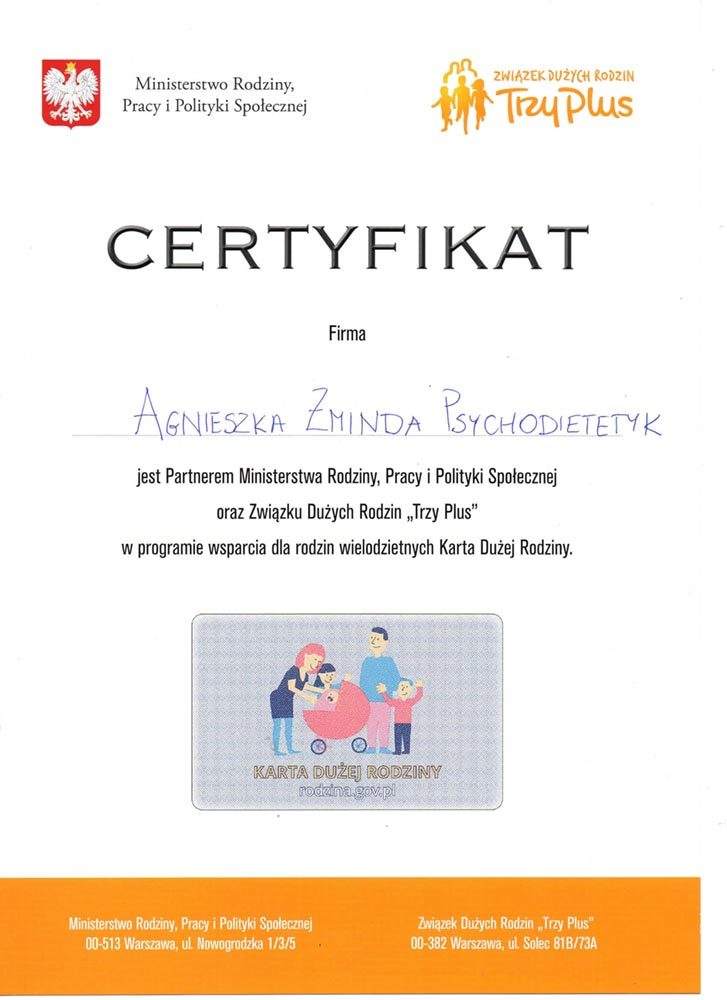 certyfikat Rodzina3plus 1