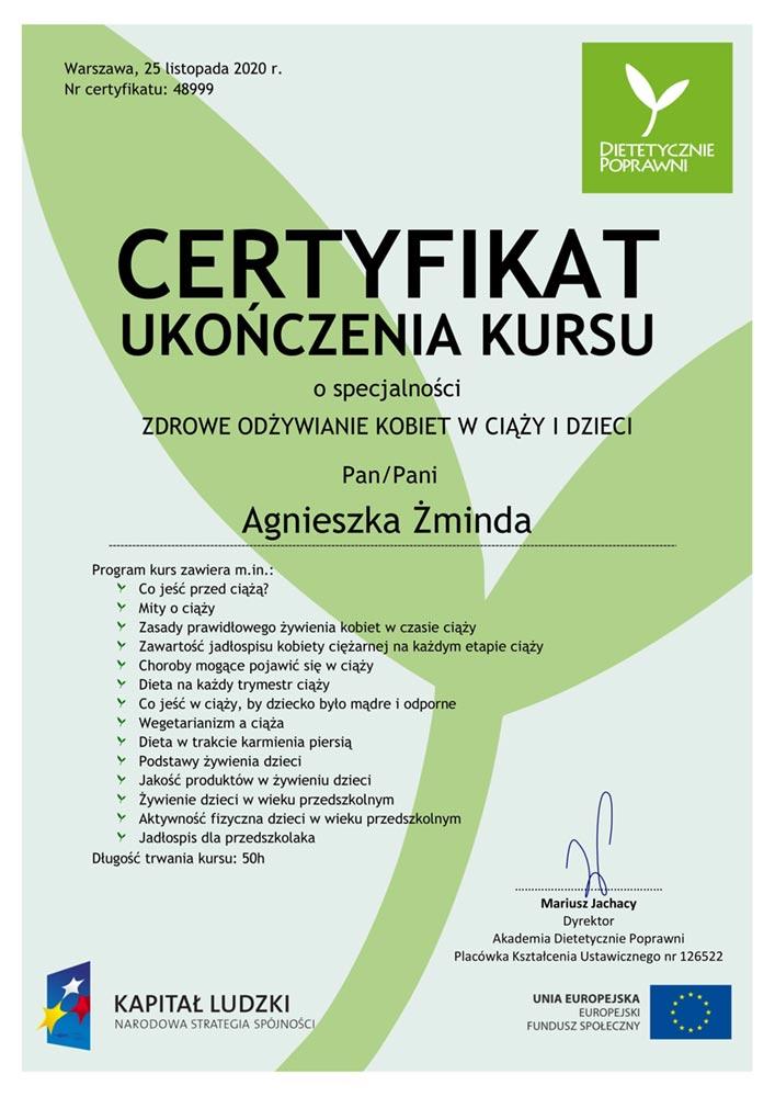 certyfikat Zdrowe odzywianie kobiet w ciazy i malych dzieci — kopia 1